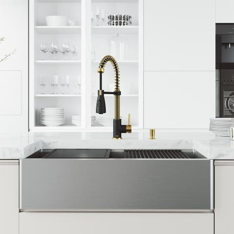 VIGO 36 in. Apron Front Stainless Steel Farmhouse Kitchen Sink and Faucet in Matte Brushed Gold and Matte Black