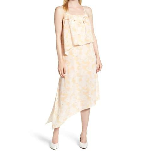 Lewit Orange White Womens Size 14 Floral Print Popover Maxi Dress