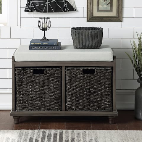 Homes Collection Wood Storage Bench with 2 Woven Baskets