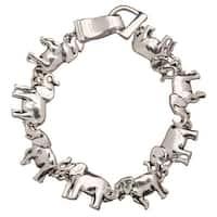 Women's Elephant Silver Plated Magnetic Charm Bracelet