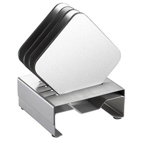 Visol VAC349 Pascal Stainless Steel Square Coaster Set with Holder