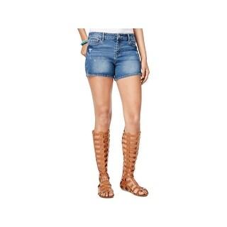 Vanilla Star Womens Juniors Denim Shorts Midi Distressed - 5