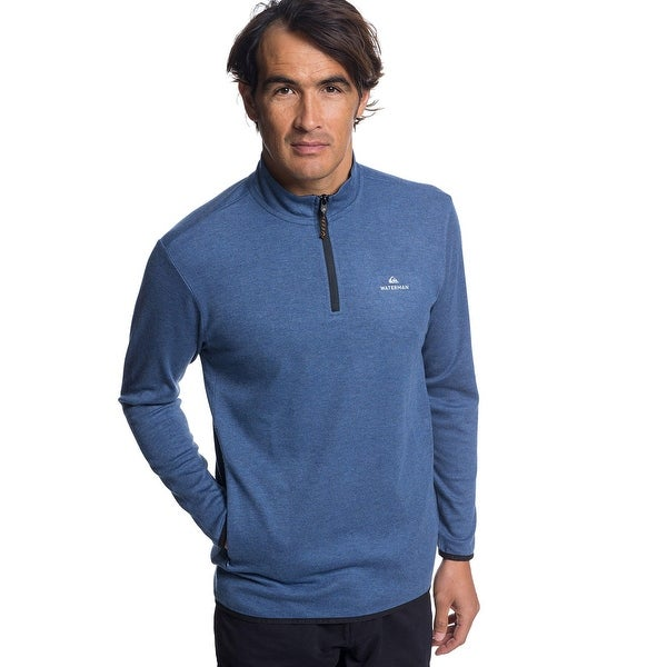 e9905c95ab Quiksilver Men's Waterman Sea Explorer Long Sleeve Half-Neck Top - Orion  Blue Heather