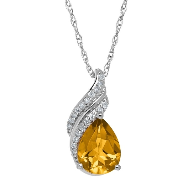 1 1/2 ct Natural Citrine Drop Pendant with Diamonds in Sterling Silver - Yellow