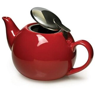 Epoca Ptcre-5224-T Primula 3-Cup Ceramic Teapot With Stainless Steel Infuser - Red