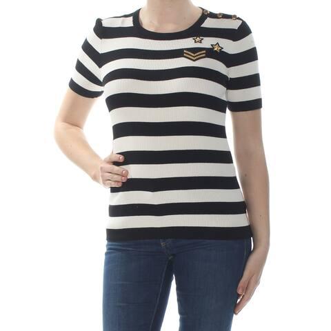 RALPH LAUREN Womens Black Striped Short Sleeve T-Shirt Top Size: M
