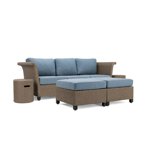 La-Z-Boy Nolin 3pc Weathered Brown Sectional Set with 2 Side Tables and 2 Ottomans, Sunbrella Spectrum Denim Fabric