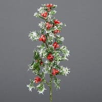 """Club Pack of 72 Glittering Holly and Berry Christmas Picks 11"""" - green"""