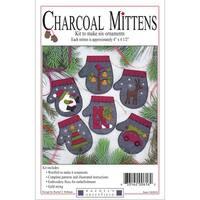 """Charcoal Mittens Ornament Kit 6/Pkg-4""""X4.5"""""""