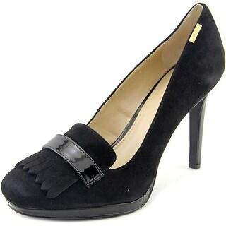 Calvin Klein Chiara Round Toe Suede Heels
