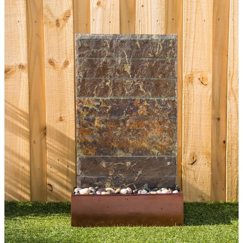 "Costas 33"" Outdoor Floor Fountain - Slate and Copper - 6"" x 33"""