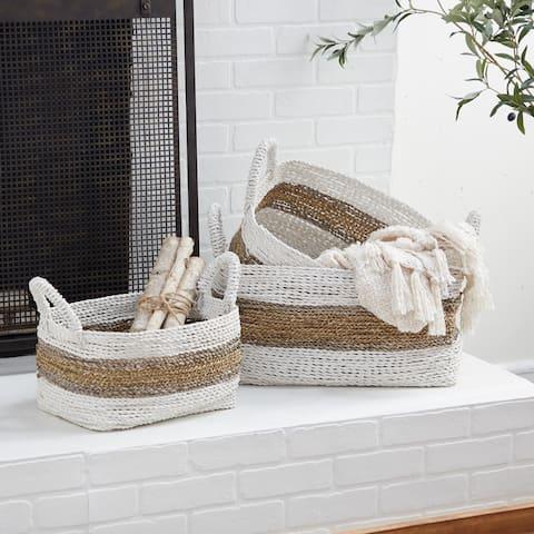 White Wood Natural Storage Basket (Set of 2) - 21 x 15 x 13