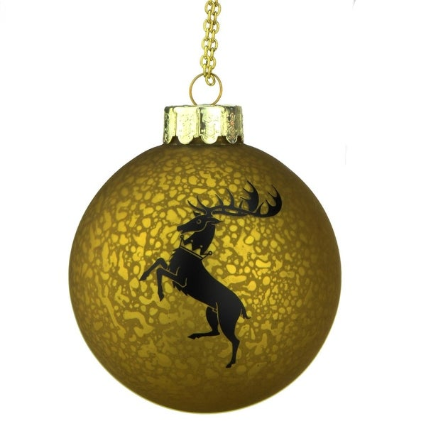 """3.5"""" Gold and Black Game of Thrones Family Crest Decal Glass Christmas Ball Ornament"""