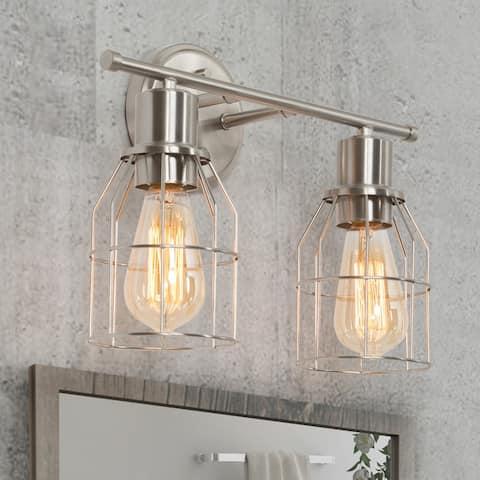 "Industrial 2-Light Bathroom Vanity Lights Mini Cage Nickel Wall Sconces - 14.5"" L x 6.5"" W x 11"" H"