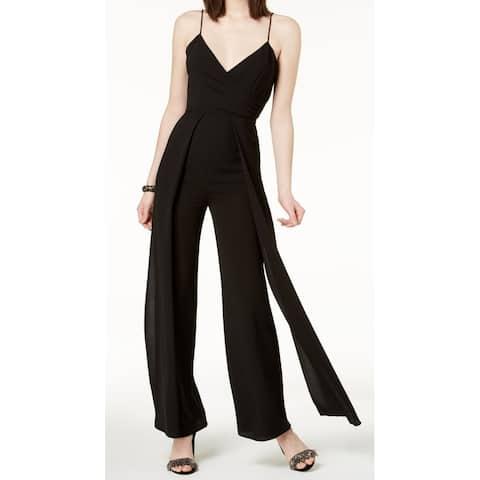 Vince Camuto Black Women's Size 10 Split Front V-Neck Jumpsuit