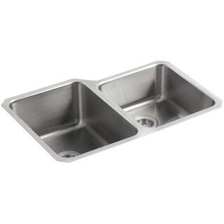"""Kohler K-3177  Undertone 32"""" Double Basin Under-Mount 18-Gauge Stainless Steel Kitchen Sink with SilentShield - Stainless Steel"""