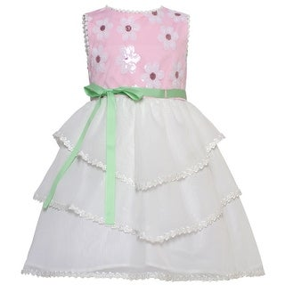 Rare Editions Little Girls Pink White Floral Detailed Tiered Easter Dress 4