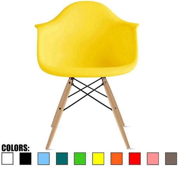 2xhome Plastic Chair Armchair With Arm Yellow Natural Wood Legs Dining