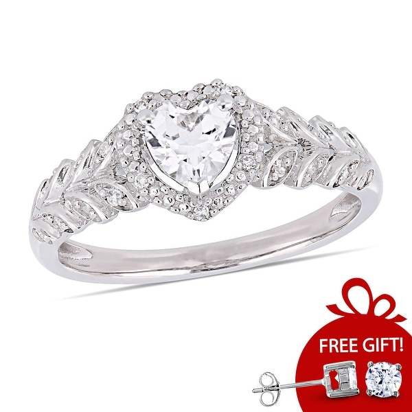 Miadora 10k White Gold Created White Sapphire and Diamond Accent Heart Halo Engagement Ring. Opens flyout.