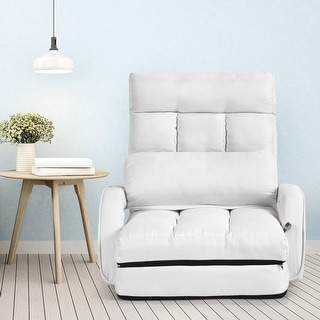 Fabulous Gymax White Folding Lazy Sofa Floor Chair Sofa Lounger Bed With Armrests And Pillow Overstock Com Shopping The Best Deals On Futons Caraccident5 Cool Chair Designs And Ideas Caraccident5Info