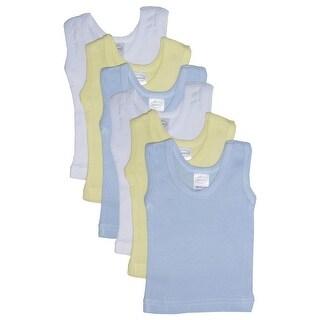 Bambini Baby Boys Blue Yellow White Cotton Sleeveless 6-Pack Tank Tops