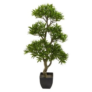 "Nearly Natural Home Office Decorative 37"" Bonsai Styled Podocarpus Artificial Faux Tree - N/A"