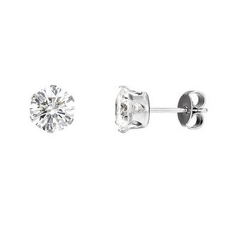 Surgical Stainless Steel Round Clear Solitaire CZ Stud Earrings Cubic Zirconia 3mm