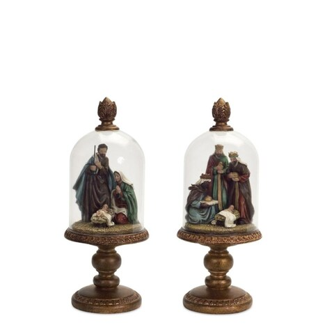 Set of 4 Subtle Colored Christmas Domed Nativity Table toppers with Rustic Base 9