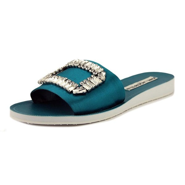 Karl Lagerfeld Mirah 7 Women Open Toe Canvas Blue Slides Sandal