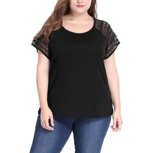 Allegra K Women's Plus Size Lace Raglan Sleeves Round Neck Top - Black