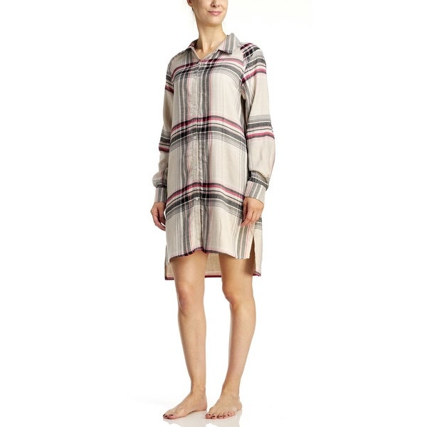 Shop DKNY Women s Flannel Sleepshirt - Oat Plaid - oatmeal plaid ... 419624798