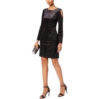 Jessica Howard Womens Missy Cocktail Dress Velvet Cold-Shoulder