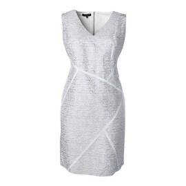 Lafayette 148 New York Womens Plus Silk Blend Printed Wear to Work Dress