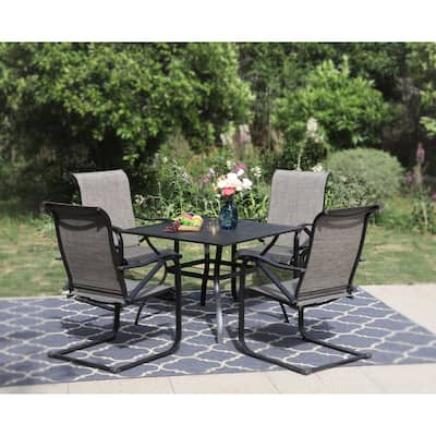 PHI VILLA 5-Piece Patio Furniture Dining Set, with 4 C Spring Motion Textilene Metal Chairs and Steel Table with Umbrella Hole