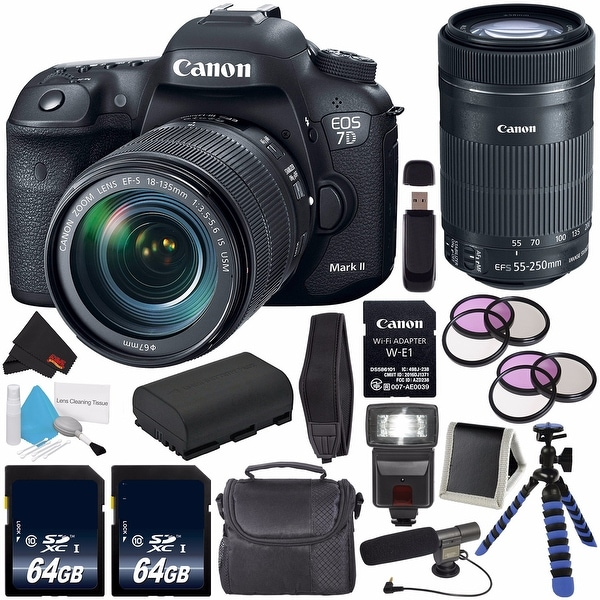 Canon EOS 7D Mark II DSLR Camera with 18-135mm f/3.5-5.6 IS USM Lens & Adapter + Canon EF-S 55-250mm Lens + 64GB Card Bundle