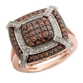 1.00 Total Carat Weight Carat Real Cognac Color Color With Diamond Cluster Ring