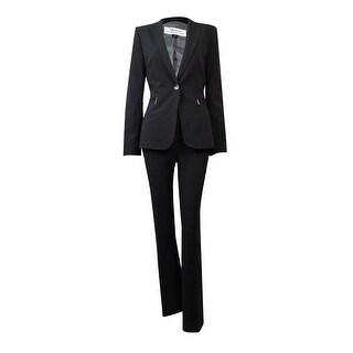 Tahari Women's Florida Fantasy Pinstriped Zip-Pocket Pant Suit - 4