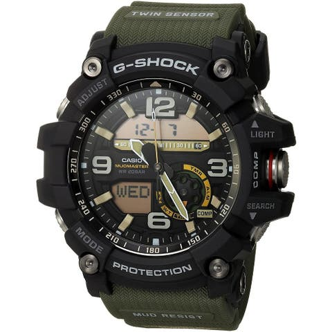 Casio Men's GG1000-1A3 'G-Shock' Analog-Digital Green Resin Watch - Black