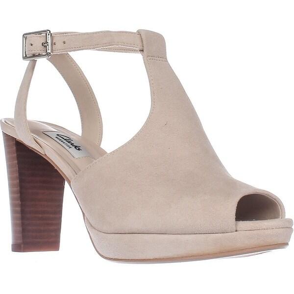 Clarks Kendra Charm T-Strap Comfort Heel Sandals, Nude Suede