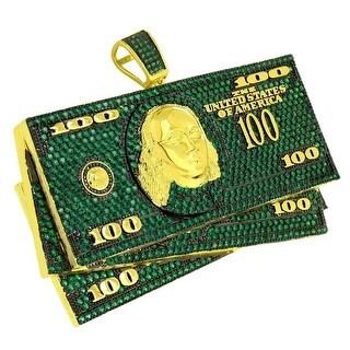 Hundred Dollar Bills Pendant Hip Hop Green Lab Diamonds Gold Tone