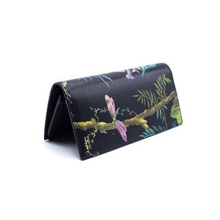 Gucci Men's Black Leather Tropical Print Checkbook Breast Wallet