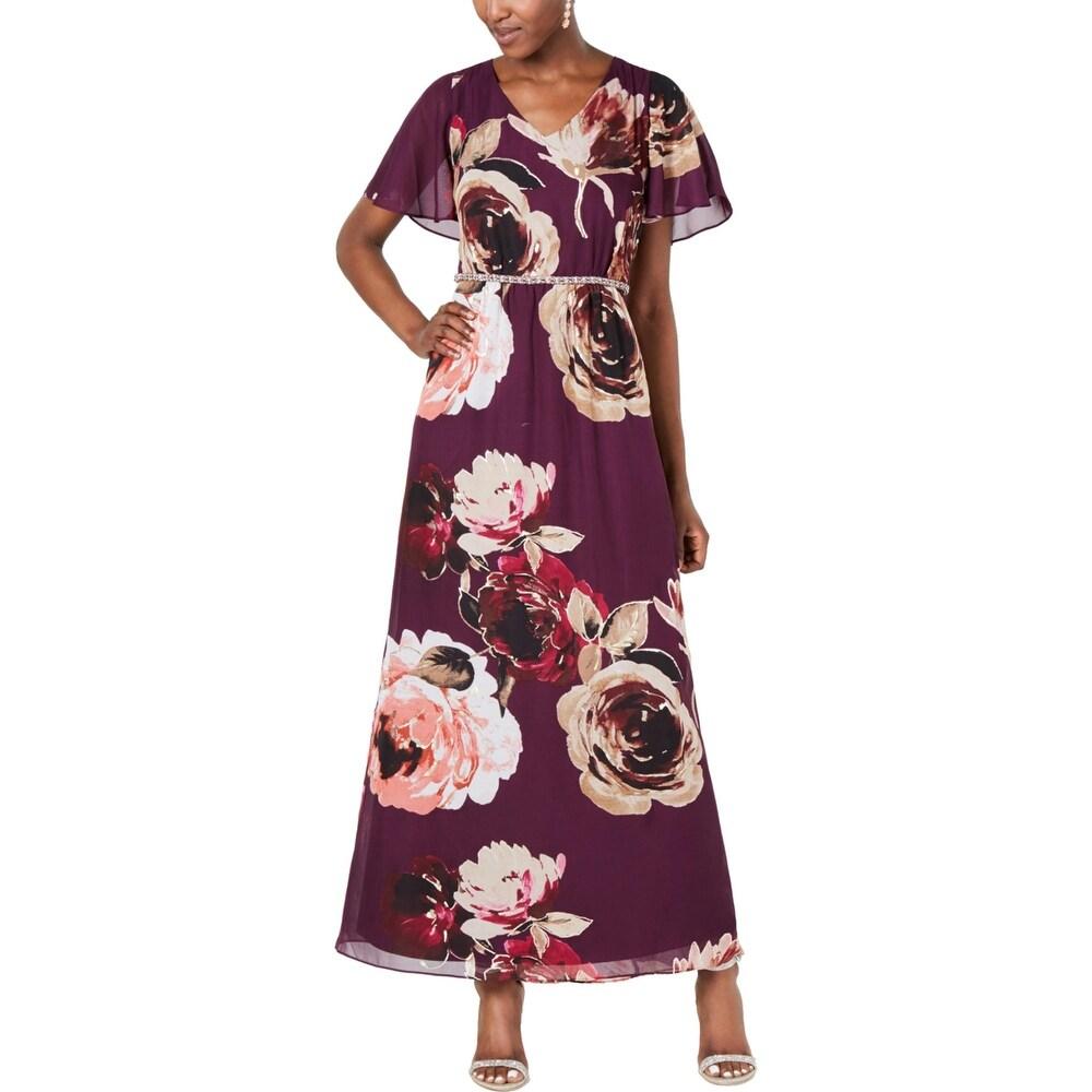 SLNY Womens Maxi Dress Floral Print Embellished