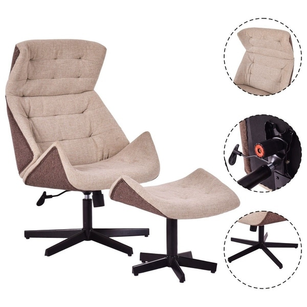 Costway Executive Chair Lounge Leisure Chair Adjustable Height Swivel W/ Ottoman