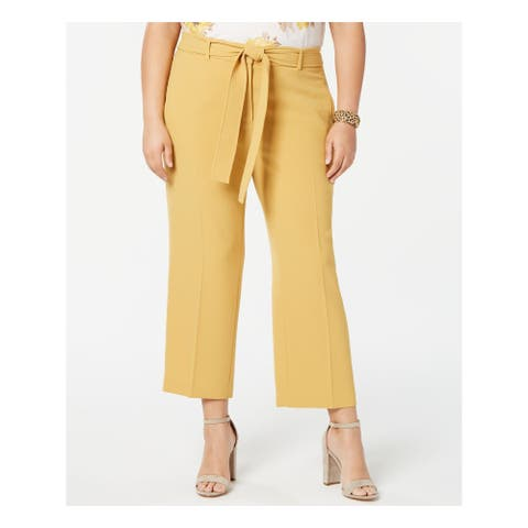 BAR III Womens Yellow Wide Leg Wear to Work Pants Size 22W