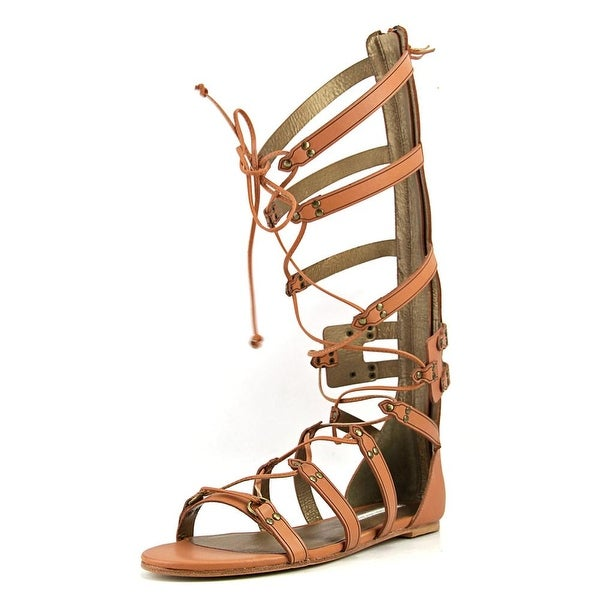 Cynthia Vincent Franky Women Open Toe Leather Brown Gladiator Sandal