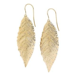 Forever Last 18 k Gold Overlay Gold Leaf Drop Earring On Fish Hook