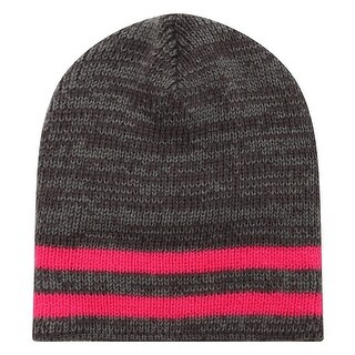 Richie House Boys Red Grey Striped Knit Unlined Cap