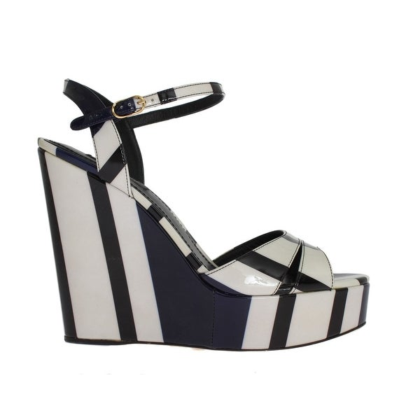 093acc3244d Shop Dolce   Gabbana Black White Striped Leather Wedges Sandals ...