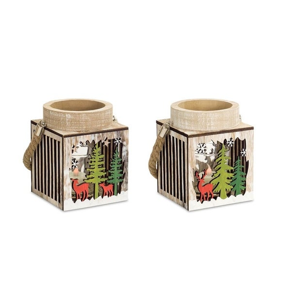 """Set of 6 Brown and Green Wooden Decorative Winter Scene Lanterns 7"""" - N/A"""