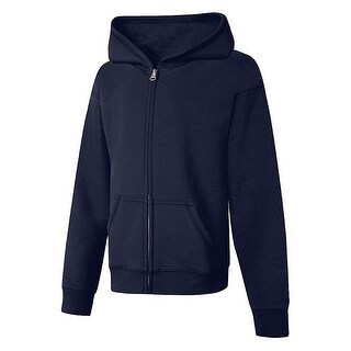Hanes ComfortSoft EcoSmart® Girls' Full-Zip Hoodie Sweatshirt - Size - L - Color - Navy